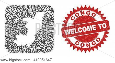 Vector Mosaic Republic Of The Congo Map Of Migration Arrows And Grunge Welcome Stamp. Mosaic Geograp