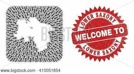 Vector Collage Lower Saxony Land Map Of Moving Arrows And Scratched Welcome Seal Stamp. Collage Geog