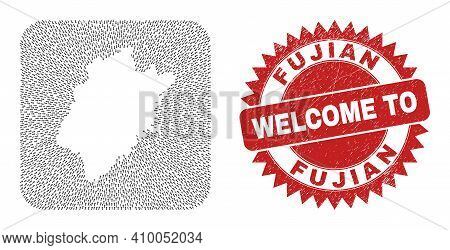 Vector Collage Fujian Province Map Of Direction Arrows And Rubber Welcome Seal Stamp. Mosaic Geograp