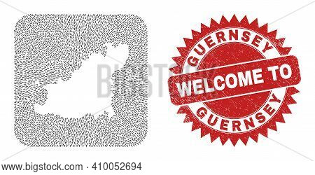 Vector Collage Guernsey Island Map Of Pointer Arrows And Scratched Welcome Stamp. Collage Geographic