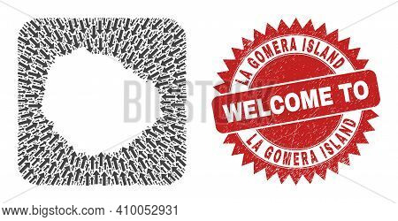 Vector Mosaic La Gomera Island Map Of Motion Arrows And Rubber Welcome Stamp. Mosaic Geographic La G