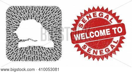 Vector Mosaic Senegal Map Of Movement Arrows And Rubber Welcome Stamp. Mosaic Geographic Senegal Map