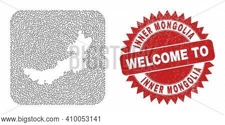 Vector Mosaic Inner Mongolia Map Of Direction Arrows And Rubber Welcome Seal Stamp. Mosaic Geographi
