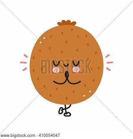 Cute Funny Kiwi Meditate In Yoga Pose. Vector Flat Line Cartoon Kawaii Character Illustration Icon.