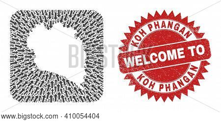 Vector Mosaic Koh Phangan Map Of Delivery Arrows And Grunge Welcome Badge. Mosaic Geographic Koh Pha