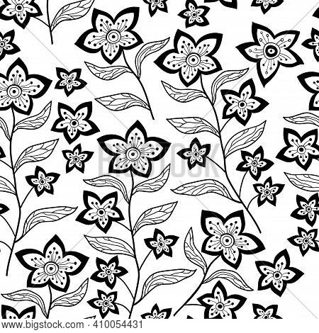 Seamless Floral Pattern With Outline Flowers And Leaves Background. Abstract Contemporary Modern Tre