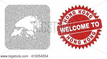 Vector Mosaic Hong Kong Map Of Migration Arrows And Scratched Welcome Badge. Mosaic Geographic Hong