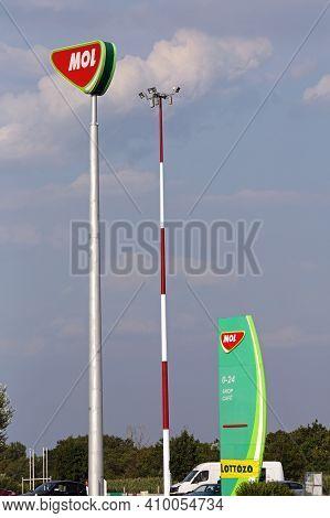 Budapest, Hungary - July 12, 2015: Sign Pole Mol Petrol Station Near Budapest, Hungary.