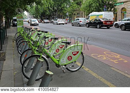 Budapest, Hungary - July 13, 2015: Bicycle Sharing Service Bubi Mol Rental At Street In Budapest, Hu