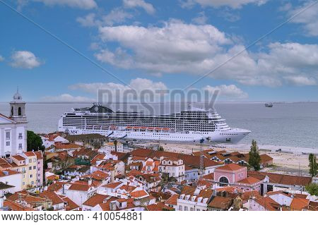 Lisbon, Portugal - November 14, 2014: A View From Miradouro Of Lisbon And Ocean Cruise Liner.