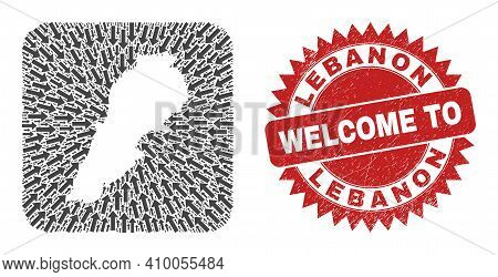 Vector Collage Lebanon Map Of Pointing Arrows And Grunge Welcome Stamp. Collage Geographic Lebanon M