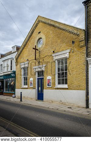 Whitsable, Kent, Uk, February 2021 - Harbour Church In Harbour Street In The Seaside Town Of Whitsta
