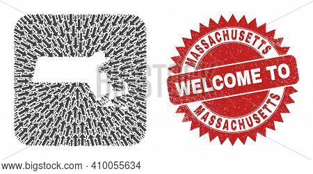 Vector Mosaic Massachusetts State Map Of Straight Arrows And Scratched Welcome Badge. Collage Geogra