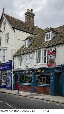Whitsable, Kent, Uk, February 2021 - The Royal Naval Reserve Public House  In The High Street, In Th