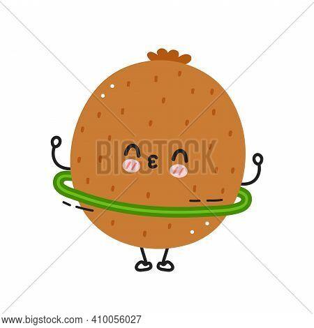 Cute Funny Kiwi Make Gym With Hula Hoop. Vector Flat Line Cartoon Kawaii Character Illustration Icon