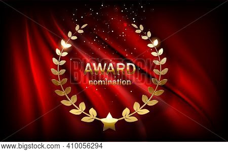 Golden Award Sign With Laurel Wreath Isolated On Red Curtain Background.