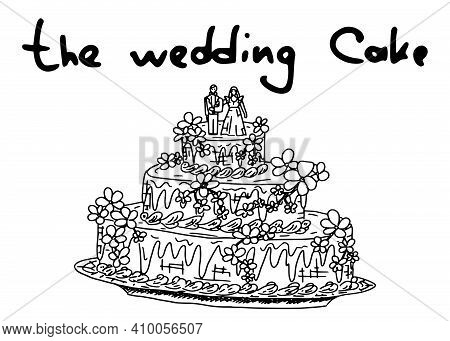 Simple Wedding Cake With Souffle And Marzipan Figurines. Doodle Sketch Illustration