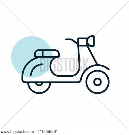 Scooter Moped Flat Vector Icon. Graph Symbol For Travel And Tourism Web Site And Apps Design, Logo,