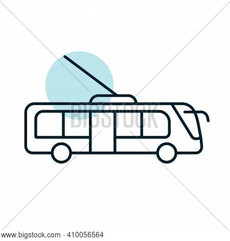 Trolley Or Trolleybus Flat Vector Icon. Graph Symbol For Travel And Tourism Web Site And Apps Design