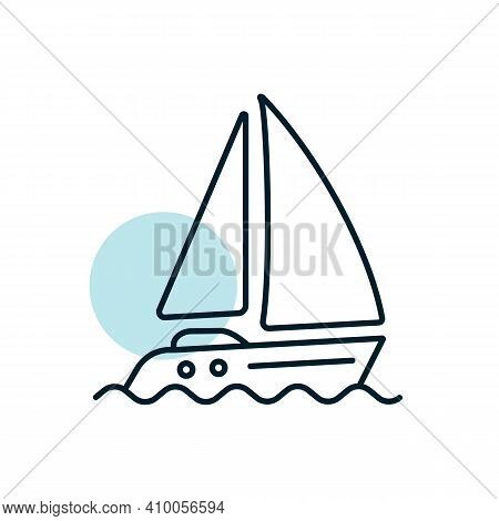 Sailing Yacht Flat Vector Icon. Graph Symbol For Travel And Tourism Web Site And Apps Design, Logo,