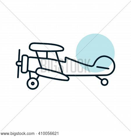 Light Aircraft Plane Flat Vector Icon. Graph Symbol For Travel And Tourism Web Site And Apps Design,