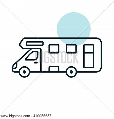 Mobile Home Motor Home Caravan Trailer Vehicle Flat Vector Icon. Graph Symbol For Travel And Tourism