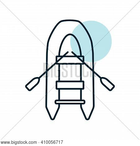 Inflatable Rubber Boat Flat Vector Icon. Graph Symbol For Travel And Tourism Web Site And Apps Desig