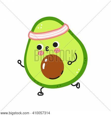 Cute Funny Avocado Jogging. Vector Flat Line Cartoon Kawaii Character Illustration Icon. Isolated On