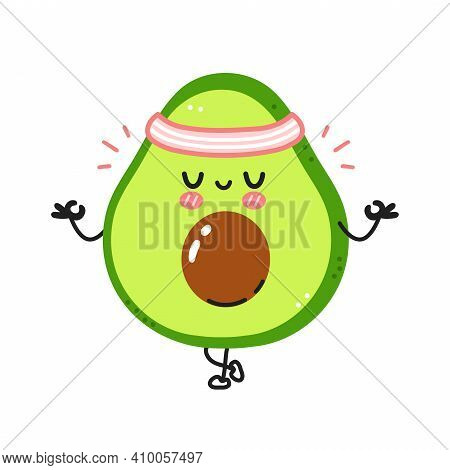 Cute Funny Avocado Meditate In Yoga Pose. Vector Flat Line Cartoon Kawaii Character Illustration Ico