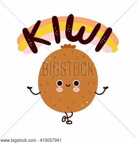 Cute Funny Kiwi. Vector Flat Cartoon Kawaii Character Illustration Icon. Isolated On White Backgroun