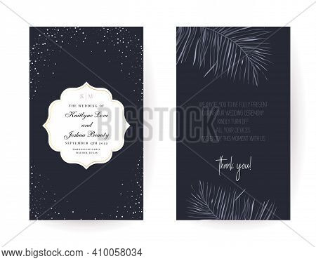 Tropical Elegant Frame Arranged From Exotic Gray Leaves. Design Vector. Paradise Plants, Simple Chic