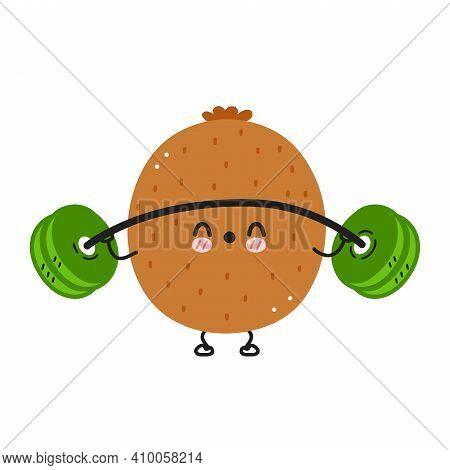 Cute Funny Kiwi Make Gym With Barbell. Vector Flat Line Cartoon Kawaii Character Illustration Icon.