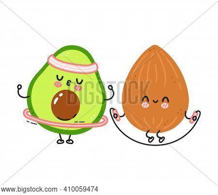 Cute Funny Almond Make Gym With Jump Rope And Avocado With Hula Hoop. Vector Flat Line Cartoon Kawai