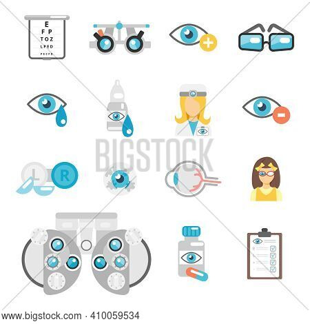 Oculist Flat Icons Set With Eye Glasses Lenses Eyeball Isolated Vector Illustration