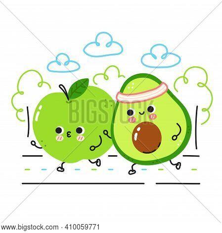 Cute Funny Apple And Avocado Run. Vector Flat Line Cartoon Kawaii Character Illustration Icon. Isola