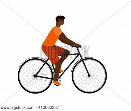 African American Rider On Bike. Man In Bicycle Flat Vector Character