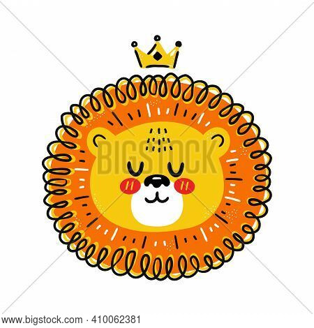 Cute Funny Lion With Crown. Vector Scandinavian Style Cartoon Character Illustration. Isolated On Wh