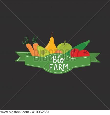 Bio Farm Eco Product With Ribbon And Hand Written Sign For Logo Sticker Grocery Store, Bio Food Mark
