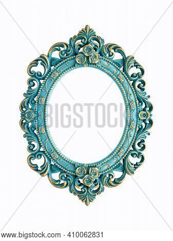 Turquoise And Gold Gilded Carved Oval Frame, Isolated On White Background