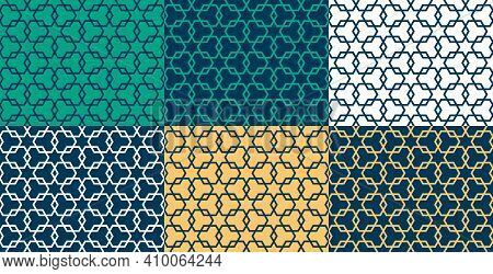 Set Of Six Geometric Islamic Seamless Pattern For Decoration Greeting Card Or Interior. Vector Illus