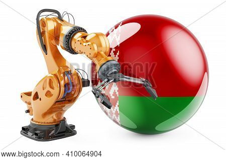 Robotic Arm With Belarusian Flag. Modern Technology, Industry And Production In Belarus Concept, 3d