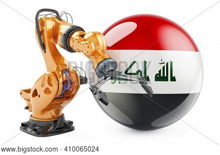 Robotic Arm With Iraqi Flag. Modern Technology, Industry And Production In Iraq Concept, 3d Renderin