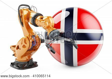Robotic Arm With Norwegian Flag. Modern Technology, Industry And Production In Norway Concept, 3d Re