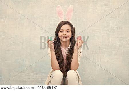 Child Girl Wearing Bunny Ears On Easter Day. Small Rabbit Girl. Happy Easter. Easter Egg Hunt. Daugh