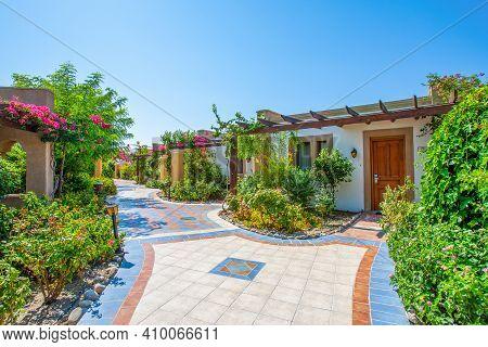 Rhodes, Greece - 18 July 2019: Luxury Hotel On The Coast Of The Mediterranean Sea In Rhodes Island,