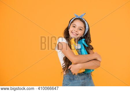 Cleaning Products That Work. Happy Little Girl Enjoy Doing House Work. Cute Small Child Ready For Cl