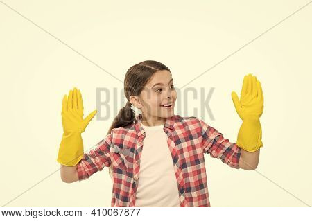 General Clean Up. Yellow Gloves For Cleaning The House. Housework Concept. Time For Washing. Cleanin
