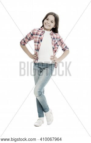 Fashion Is Her Life. Fashion Look Of Vogue Model. Cute Fashion Model Isolated On White. Happy Child