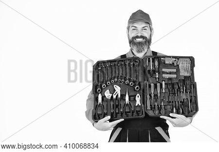Electrician Tools. Worker Repairman Handyman Carrying Toolbox. Handyman Concept. Professional Equipm