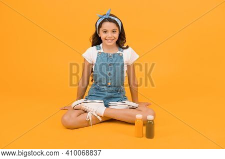 Healthy Food Is Great For Her Health. Little Child Enjoy Vitamin Diet After Yoga Training. Healthy N
